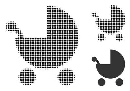 Baby carriage halftone dotted icon. Halftone pattern contains round points. Vector illustration of baby carriage icon on a white background. Illustration