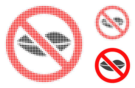 Forbidden kiss halftone dotted icon. Halftone array contains round dots. Vector illustration of forbidden kiss icon on a white background.