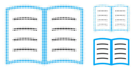 Open book halftone dotted icon. Halftone pattern contains circle elements. Vector illustration of open book icon on a white background. Illustration
