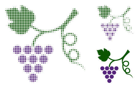 Grape plant halftone dotted icon. Halftone array contains circle pixels. Vector illustration of grape plant icon on a white background.