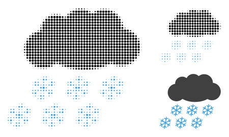 Snow cloud halftone dotted icon. Halftone array contains round dots. Vector illustration of snow cloud icon on a white background.
