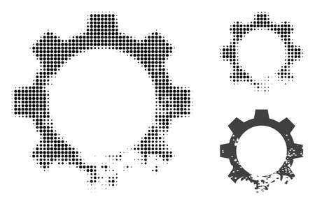 Damaged gear halftone dotted icon. Halftone array contains round elements. Vector illustration of damaged gear icon on a white background.