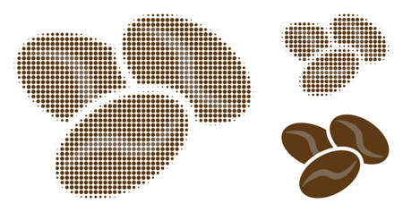 Coffee beans halftone dotted icon. Halftone pattern contains circle dots. Vector illustration of coffee beans icon on a white background.