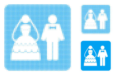 Wedding couple halftone dotted icon. Halftone pattern contains circle elements. Vector illustration of wedding couple icon on a white background.