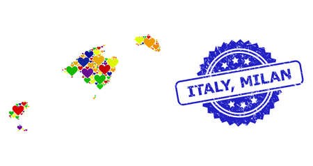 Blue rosette grunge seal imprint with Italy, Milan caption. Vector mosaic LGBT map of Balearic Islands with hearts. Map of Balearic Islands collage composed with lovely hearts in multicolored shades. Vecteurs