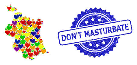 Blue rosette rubber seal stamp with DonT Masturbate message. Vector mosaic LGBT map of Valencia Province with love hearts.