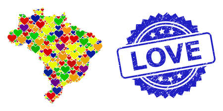 Blue rosette rubber stamp with Love title. Vector mosaic LGBT map of Brazil with hearts. Map of Brazil collage designed with love hearts in multicolored color tones. For LGBT marriage illustrations.