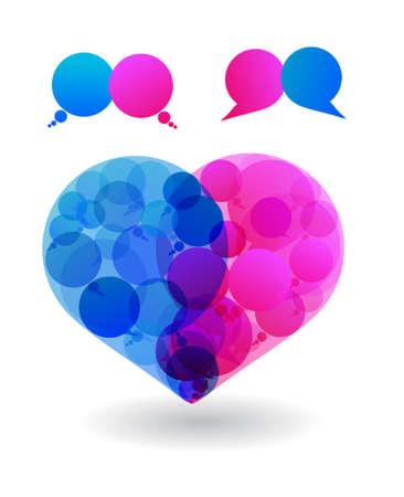 Talk in colors speech bubbles social media  Love  Heart  Social networks  dialogue Vector