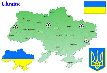 municipalities: Ukraine map  Flag, Coat of arms  Marked by the city, taking the European Football Championship 2012