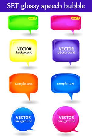 Set glossy speech bubble  vector background Vector