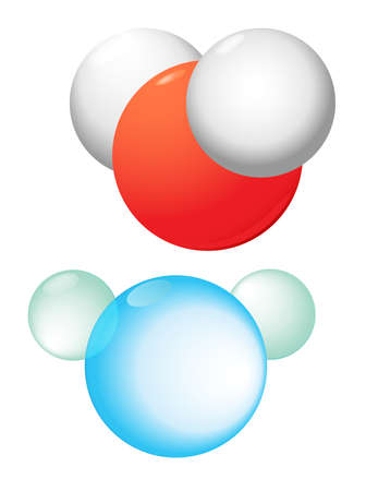 reaction:  Water molecule contains 1 oxygen and 2 hydrogen atoms connected   Water chemical substance  formula  Illustration