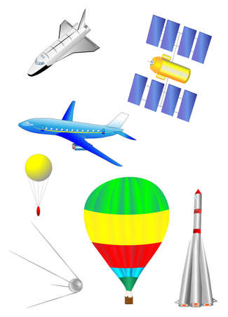 fixed wing aircraft: Astronautics and Space Icons set  Spaceship, Shuttle, first spacecraft, communications satellite, rocket and balloon