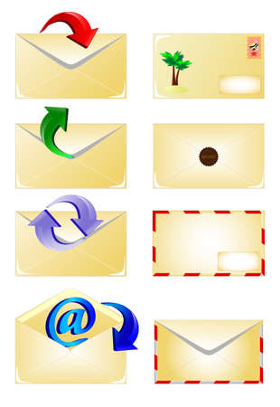 arrow and envelope icons set  Email Stock Vector - 13352856