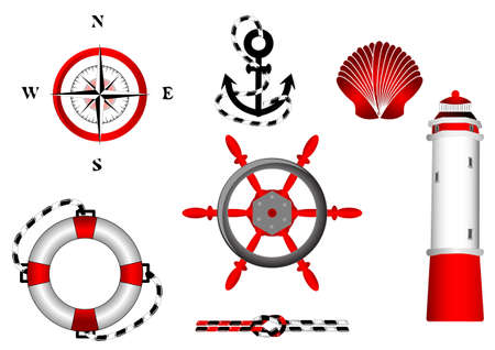 nautical icons set for design  isolated on white background  adventure Vector