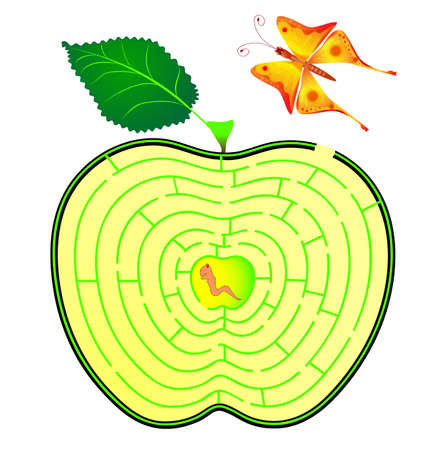 overtake: Apple maze. caterpillar and butterfly. concept