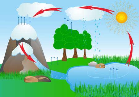 vapore acqueo: ciclo dell'acqua in ossigeno natura ambiente Vettoriali