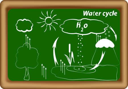 ciclo del agua: ciclo del agua del ciclo hidrol�gico Vector ciclo de H2O