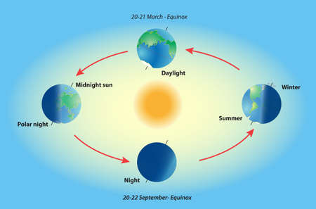 Earth revolve  Illumination of the earth during various seasons  The Earth Vector