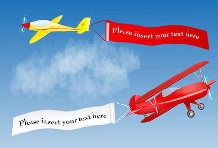pilotos aviadores: aeroplano bandera con el lugar para su mensaje de texto Aire Vector Vectores