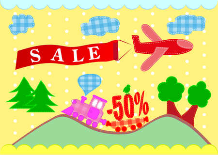 train and plane  Discounts, banner sales  Vector