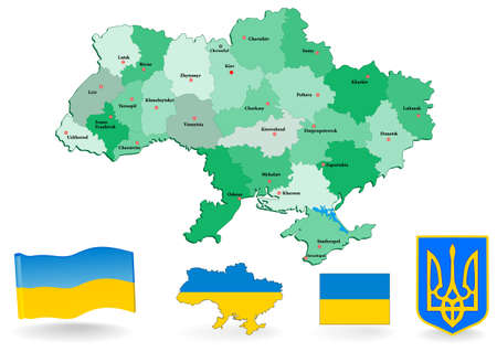 europe eastern: Ukraine map  Administrative divisions of Ukraine  Flag and Coat of arms  Illustration