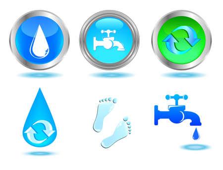 꼭지: 물 아이콘 및 디자인 푸른 물 꼭지, 드롭, 및 풋 프린트 버튼 세트 일러스트