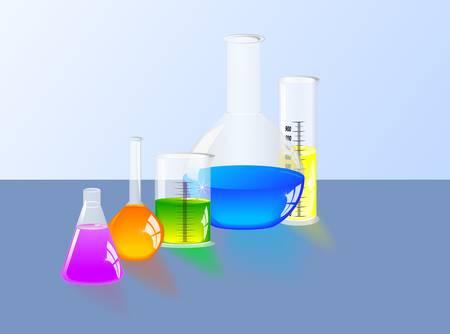 destilacion: Ciencia química y química reacciones químicas de laboratorio matraz de laboratorio y cilindro graduado Vectores