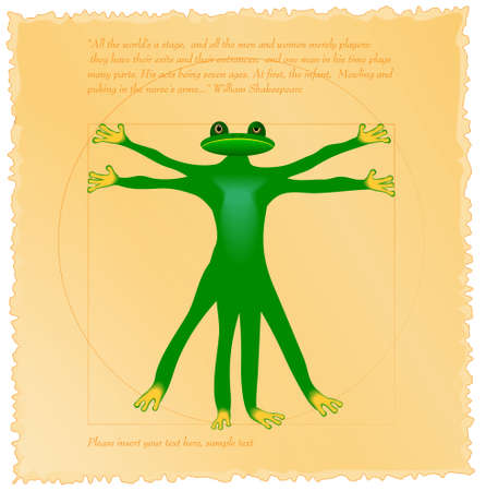 Vitruvian frog  Vector grunge background  vintage paper Vector