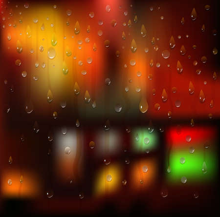 Water drops  Rain  Night city landscape  Blurry Lights  Vector background Vector