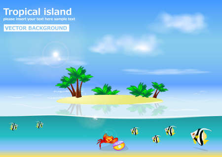 Wonderful summer background  tropical island  vector  with place for your text  Vector