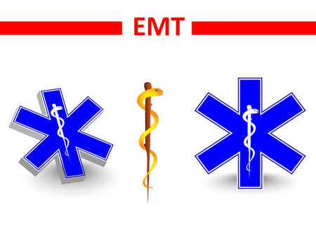 Emt.medical symbol. medical star. St Andrews cross and Eskulap Vector
