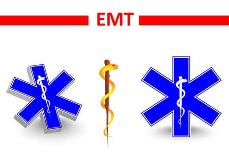 emt: Emt.medical symbol. medical star. St Andrews cross and Eskulap