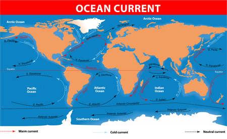 Le correnti oceaniche Vector mappa