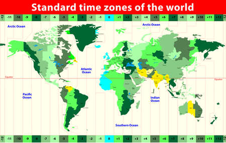 World Map with Standard Time Zones   Illustration