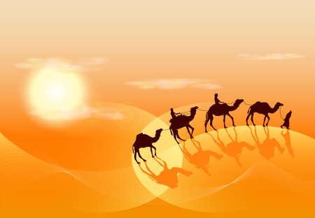dune: Camel caravan in desert  background