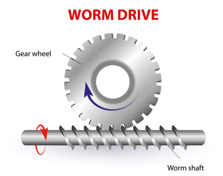 Worm drive  diagram  Protrusion on the gear wheel enter the Worm shaft to form a gearing system  Worm shaft is a Cylindrical part that transfers the rotational movement of one part to another Stock Vector - 21930711