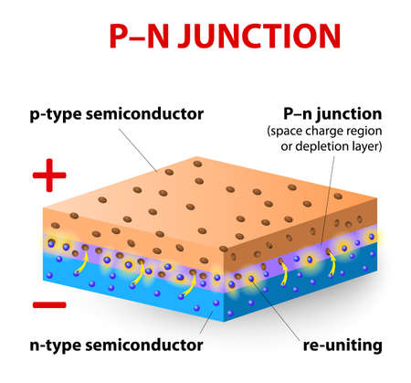 p-n junction. p-type silicon layer contains more positive charges, called holes, and the n-type silicon layer contains more negative charges, or electrons. When p-type and n-type materials are placed in contact with each other. Stock Vector - 21930713