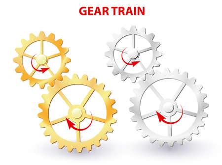 rotational: Two meshing gears transmitting rotational motion. Vector diagram Illustration