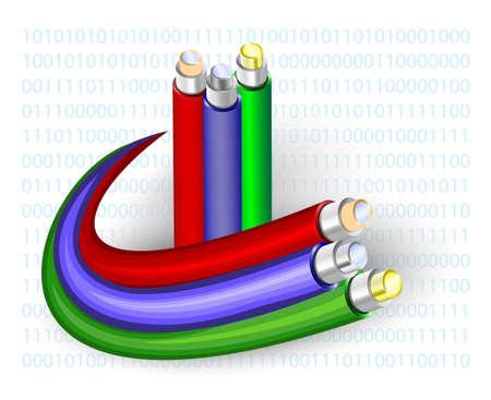 cable telefono: de fibra óptica. Cable sobre un fondo de código binario