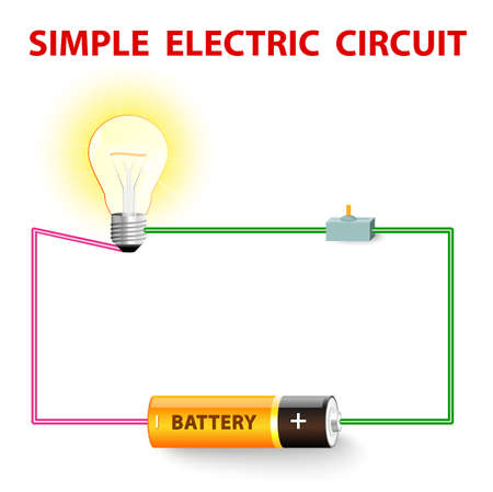 単純な電気回路。電気ネットワーク。スイッチ、電球、ワイヤー、バッテリー。ベクトル イラスト