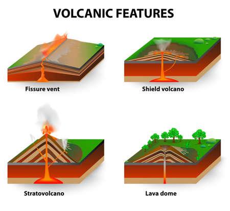 Rodzaje wulkanu. Wybuchy wulkanów wytwarzają wulkany o różnych kształtach, w zależności od rodzaju erupcji i geologii. Otwory pęknięcia, wulkany tarcza, kopuły lawy i stratowulkan. schemat