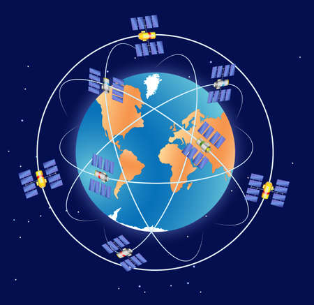 GPS satellite in Earth orbit. Global Positioning System GLONASS Vector