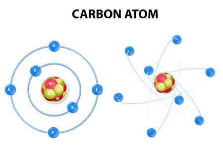 protonen, neutronen, elektronen en een koolstofatoom Stock Illustratie