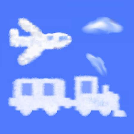 loco: cartoon train and plane shaped cloud in the blue sky  Travel  Vector Illustration