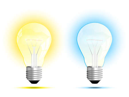 cool off: Incandescent light bulb  warm white and cool white light  vector illustration