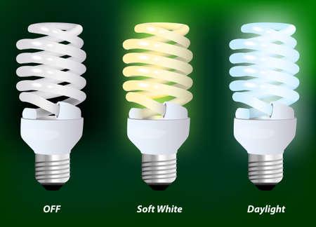 compact fluorescent lightbulb: energy saving compact fluorescent lightbulb on a green background  Vector illustration  Illustration