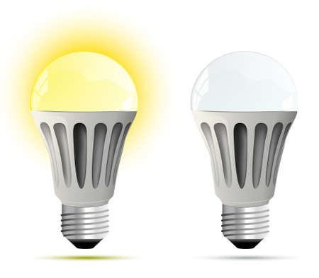 осветительное оборудование: Светодиодная лампа светящийся и выключил иллюстрацию Иллюстрация