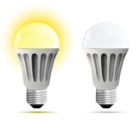 Lámpara LED que brilla intensamente y apagado ilustración Vectores