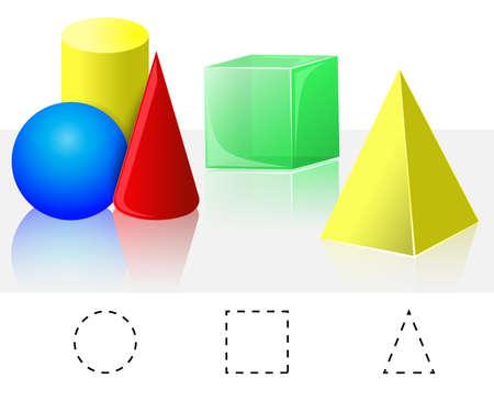 Geometrie Cube, jehlan, kužel, válec, koule Ilustrace