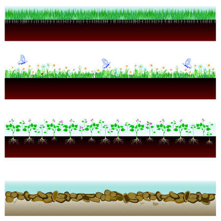 Soil cutaway  field of grass, flowers and stones  Vector Illustration Vector